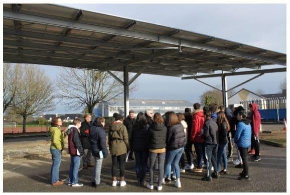 Installation d'une ombrière photovoltaïque au Collège Cousteau, de Séné (Morbihan)